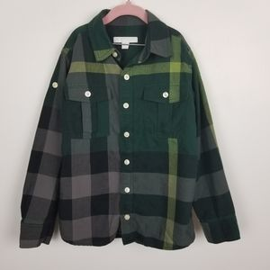 Burberry boys plaid button down shirt, green